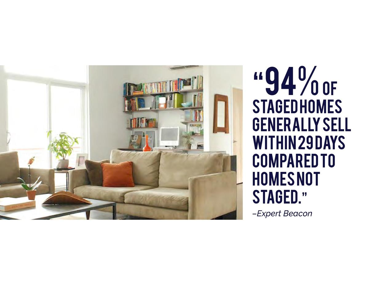 94  of  STAGED homes generally sell within 29 days compared to homes not staged.        Expert Beacon
